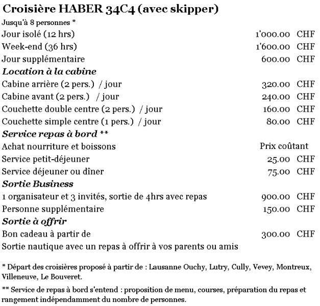 Tarif HABER 34C4 - 2019